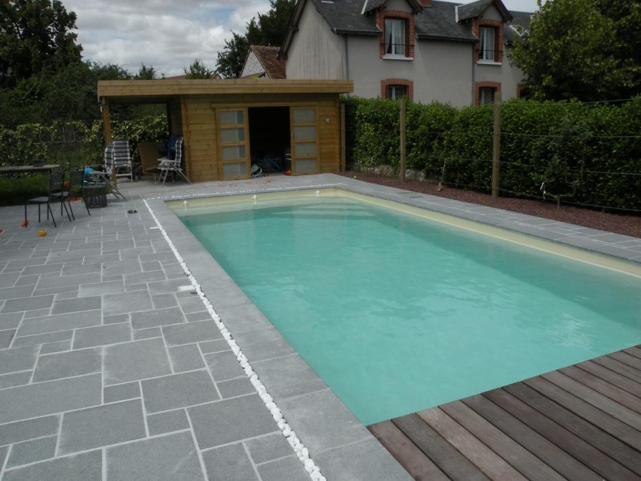 Pool house bois piscine poolhouse bois montage du liner - Plan pool house piscine ...